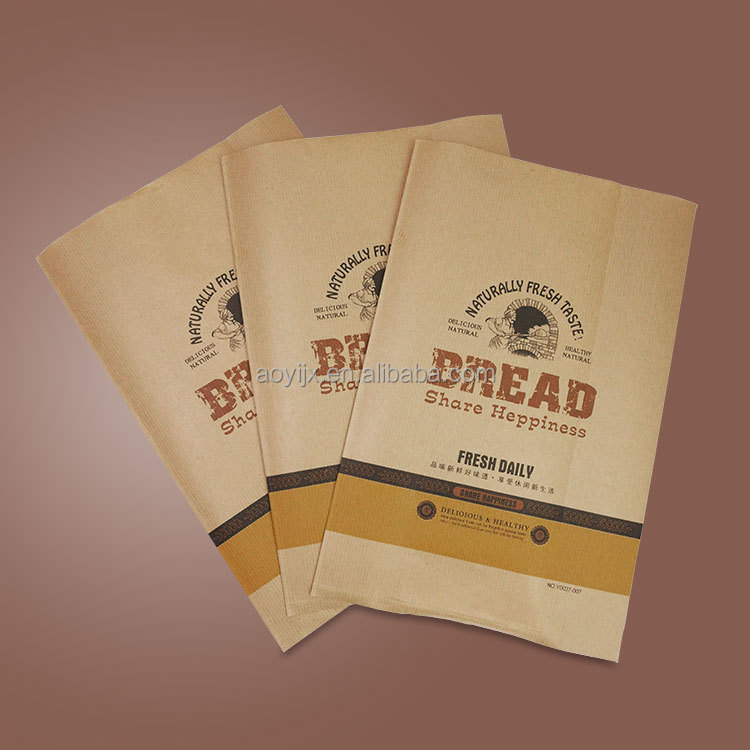 factory made food grade brown bread package paper bag with window