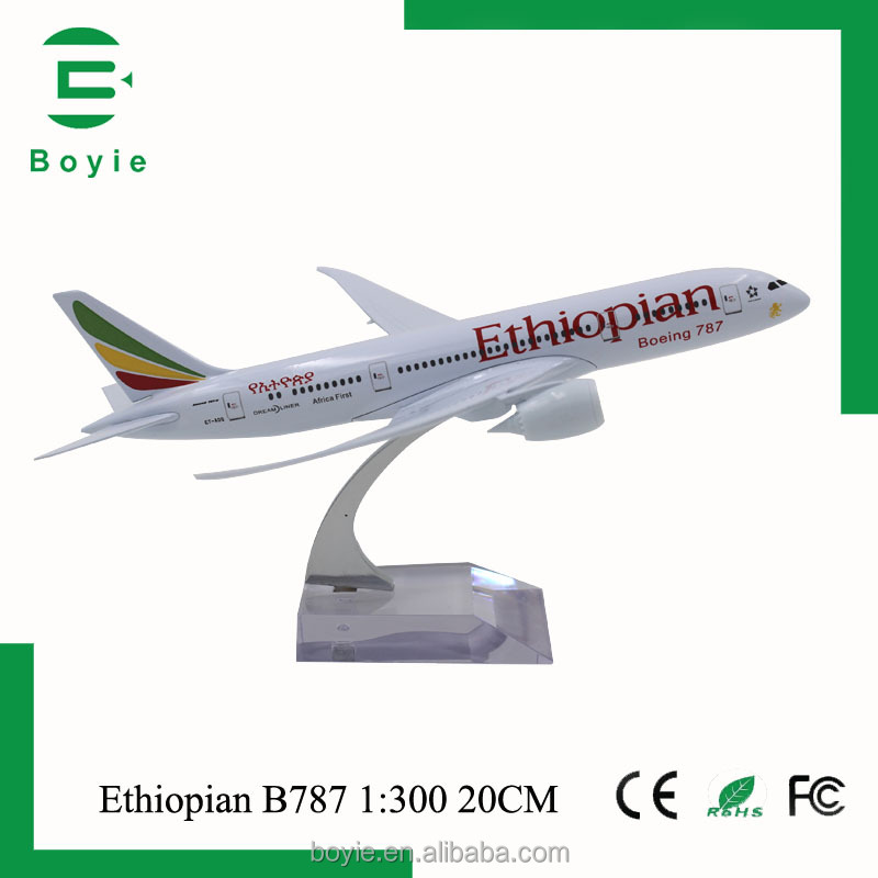 B787 Ethiopian 20CM hand make small diecast toy model plane scale 1:200 with OEM welcomed