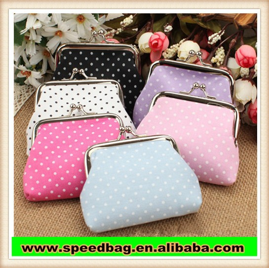 hot sale purse lady coin purse dot cloth art buckles lady change pirse R135
