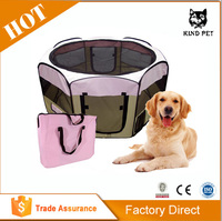 Best Pet Folding Play Pen - Medium - Pink Grid Pet Playpen
