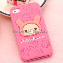 cute strawberry bear fairy tail silicone decorate 3d cell phone case