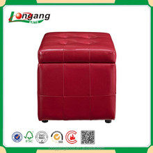 red color lattice PVC leather storage ottoman bench ottoman