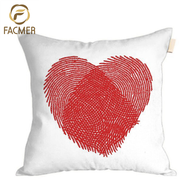 Wholesale Square 45*45 Fashion Fingerprint Art Red Sexy Love Chair Decor Cushion Cover Digital Pillow Covers For Sweet Wedding