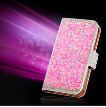 2014 New Design Crystal Bling Diamond PU Leather Stand Flip Case For iphone 5 5s