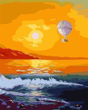 fire balloon sunset seascape oil canvas painting by numbers GX6648 paint boy EN71-123,CE