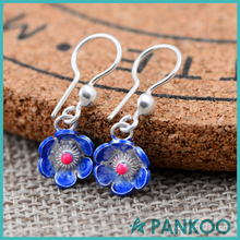 Wholesale pink rhinestone Cloisonne silver Flower earrings