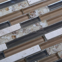Century Interlocking Strip Sea Shell in Resin Mix Glass Mix Marble Mosaic Tile