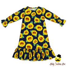 Latest Design Grils Fall Long Sleeve Casual Birthday Dress Sunflower Printed Maxi Dress Woman
