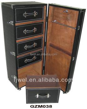 antique black leather wardrobe trunk - Wardrobe Trunk