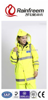 Reflective fluorescent oxford pu coating logo ventilation breathable light durable hoodie roadway waterproof rainsuit rainwear
