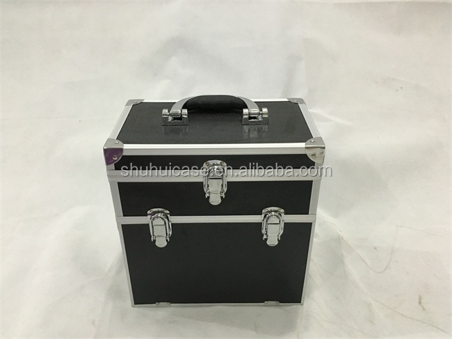 Yiwu hot alminum double cosmetic case double cosmetic box
