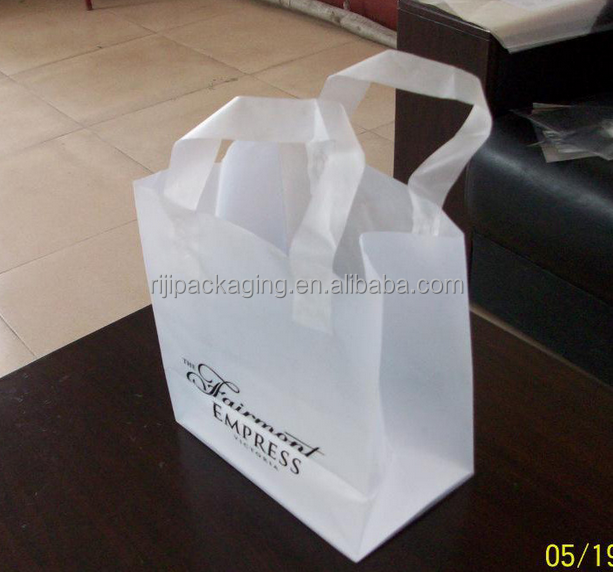Custom square bottom plastic bag with loop handle
