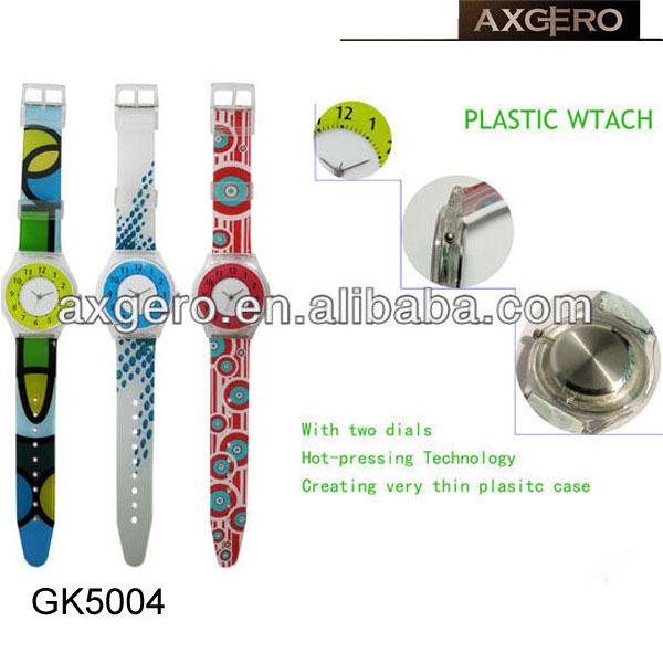 Colorful plastic gift promotional watch