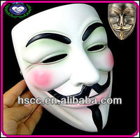 Made In China White V For Vendetta Resin Guy Fawkes Mask