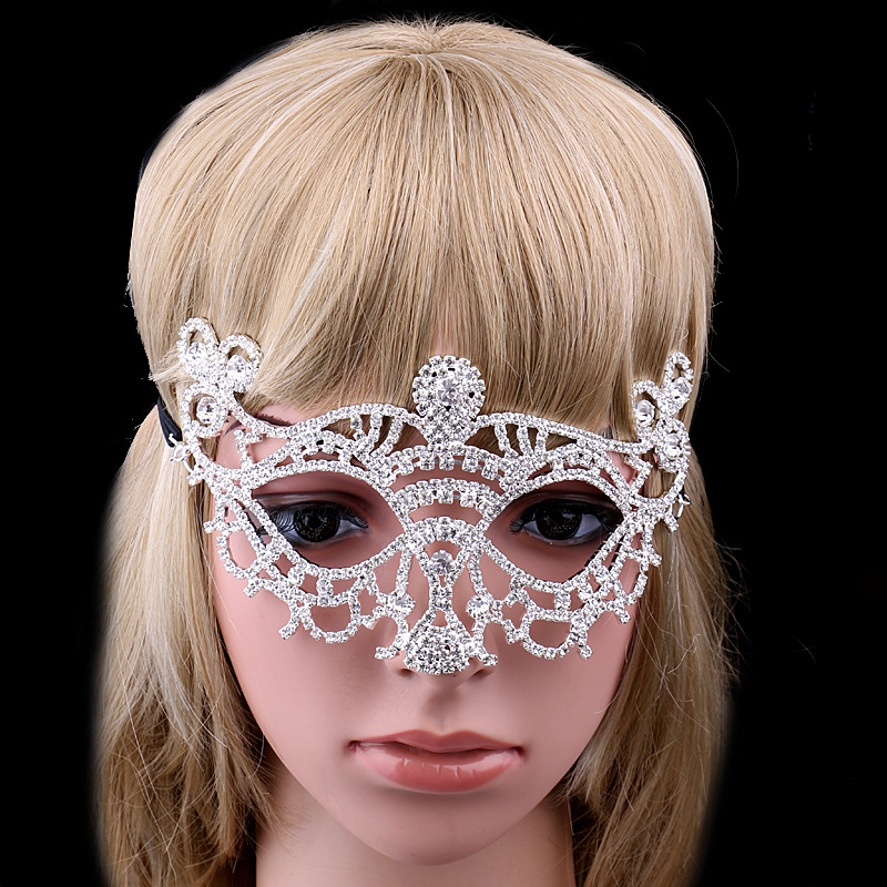 Queena Rhinestone Silver Plating Lace String Crystal Banquet Masquerade Mask
