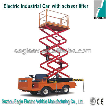 Electric industrial utility vehicle with scissor lifter , CE approved