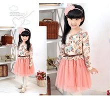 Free shipping new Girls Baby Kids Toddlers Summer Floral Print dress Bow sleeveless long sleeve Tutu Dress children's clothing