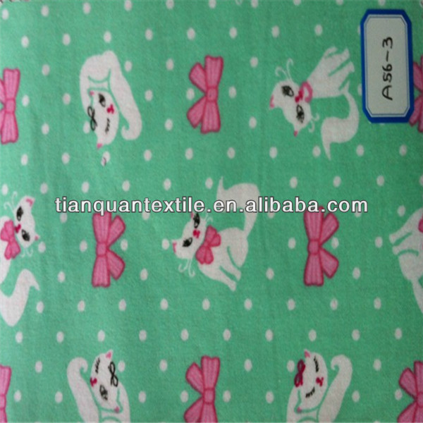 little green cat printed flannel fabric