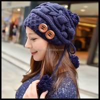 Christmas Gift Lovely winter hand made fashion cap pompon knitted bomber hats for women
