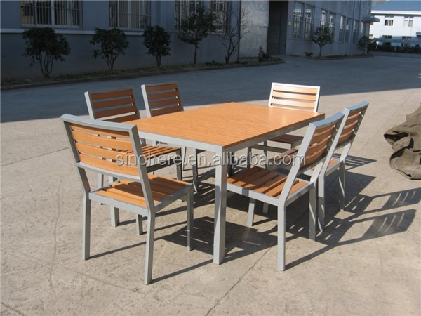 Model Plastic Wooden Garden Dining Table Set Outdoor Furniture