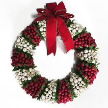 Traditional design Christmas winter berry wreath for front door decoration