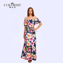 New arrival wholesale manufacture quality guarantee lotus leaf floral printed off shoulder sleeveless chiffon women maxi dress