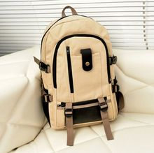 Retro High Quality Custom Leather Trim Sports Rucksack Canvas Backpack for Men