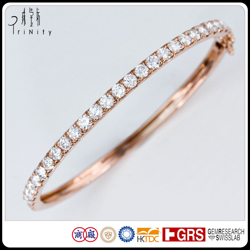 Real Rose Gold Solid Tennis Bracelet Thin Single Line Bangle With Big Diamonds Simple Designed Gold Bangles Designs