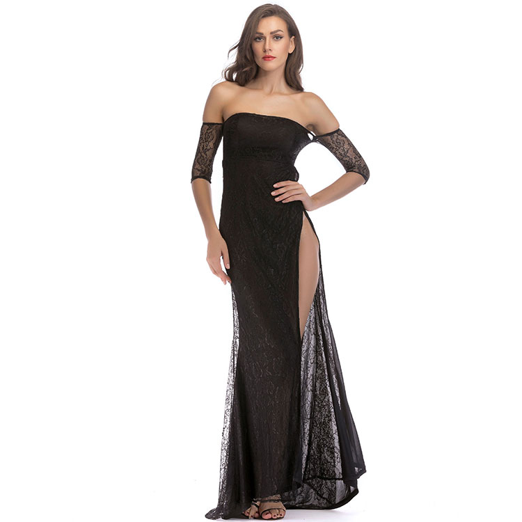 Latest design wholesale new ladies party wear off shoulder women sexy formal maxi lace long beautiful evening gown dress