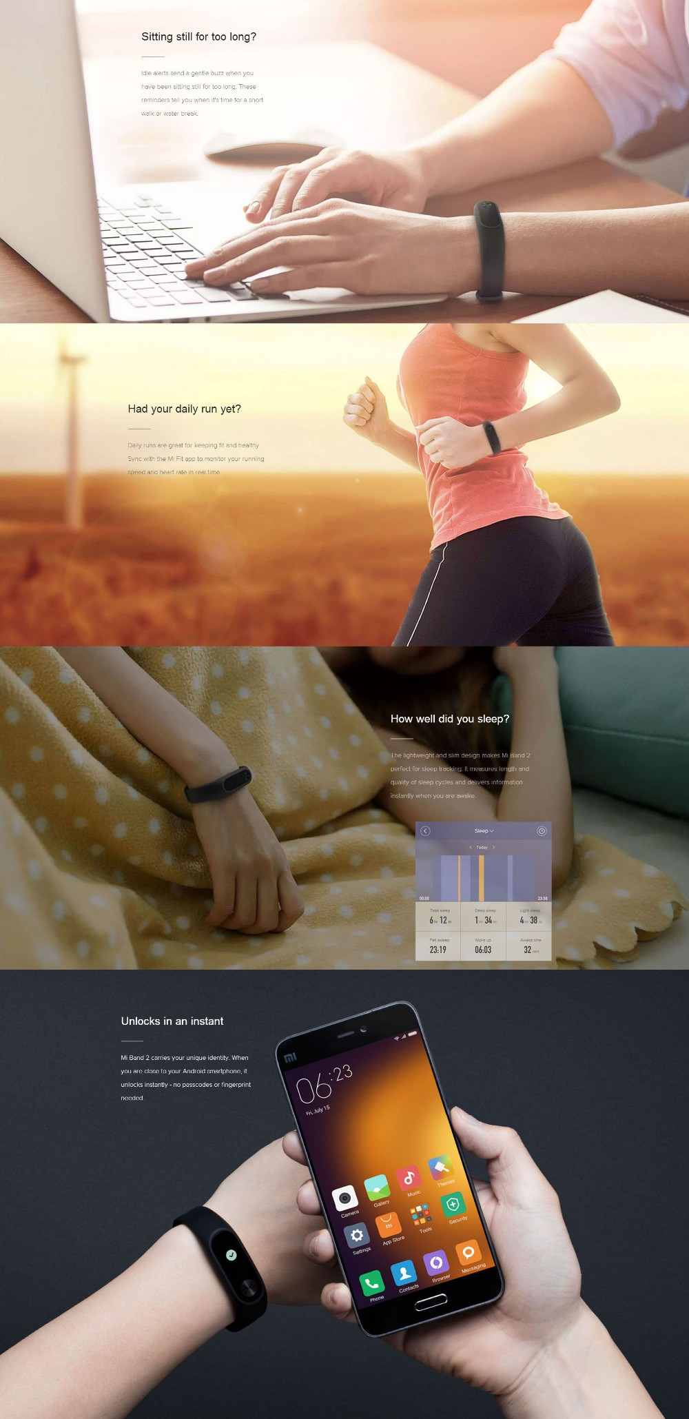 2016 original Xiaomi Mi Band 2 Miband Wristband Bracelet with Smart Heart Rate Fitness Touchpad OLED Screen Mi Band 2