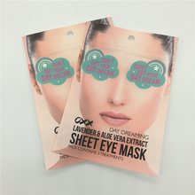 Sheet eye mask compound zipper bags with matt front and clear back side