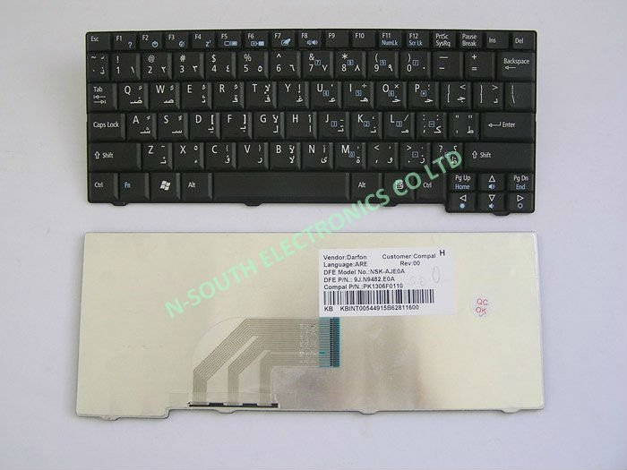 9j.n9482.e0a black AR Arabia Laptop Keyboards for acer aspire one a110 zg5