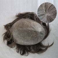 Indian human hair 0608 PU color 240 single reverse knots toupees in stock