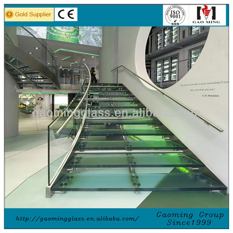 glass stair design with handrial