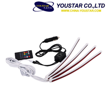 New Car 12V RGB Flexible Led Strip remote sound activated control Car Interior Atmosphere Light