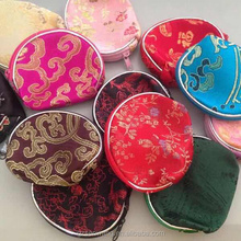Wholesale brocade satin small half-round purse silk pure silk purse coin purse small gift small package
