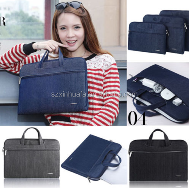 New Product Denim Tote Bag Promotion 15 Inch Laptop Velvet Handbag