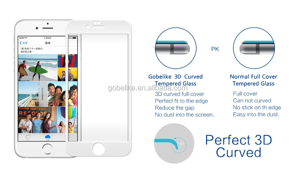 For iphone 6 Front protective film full cover 3D curved tempered glass screen protector