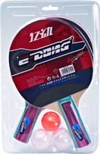 E-DONG Long handle knife-hold table tennis racket types with 3 balls E-1791