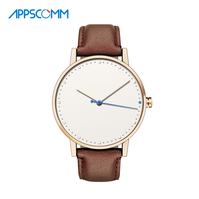 2017 APPSCOMM Smart Watch Charm Men's Genuine Leather Quartz Bluetooth Waterproof Wristwatch Business Hybrid Watch