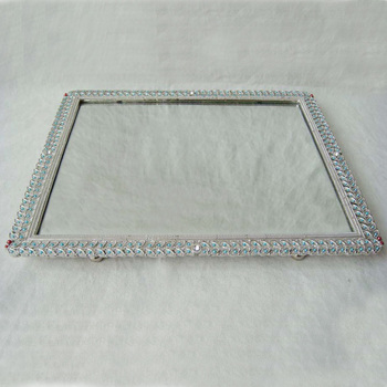 Silver Plated with Blue Pearls and White Rhinestones Decorated Mirror Tray(P06656t)