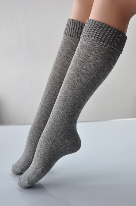 Solid color women sweater jacquard knee high stocking