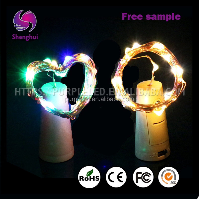 ShengHui Christmas LED String light wine bottle cap Wedding led light with cup Copper Wire waterproof Decorative Light String