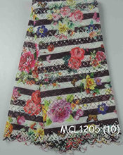 Mikemaycall brand fabric printed nylon lace fabric mesh lace fabric for fashion clothing MCL1205(10)