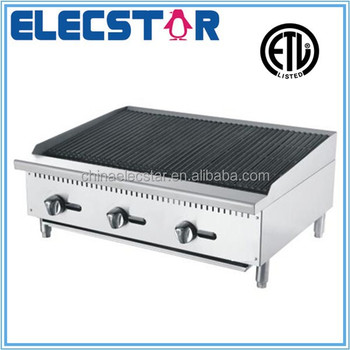 stainless steel gas char rock broiler with 3 burners and independent manual control