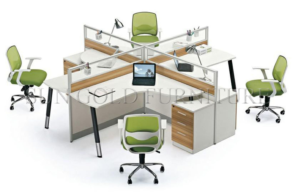 Top Sales Modern Glass Partition 4 Seat Office Workstation