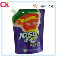 Plastic laminated lubricating oil / water / juice / laundry detergent packaging bag with side spout