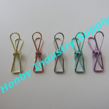 Utility Assorted color 35mm Metal Steel Wire Cord Clothes Clips for Home Or Office