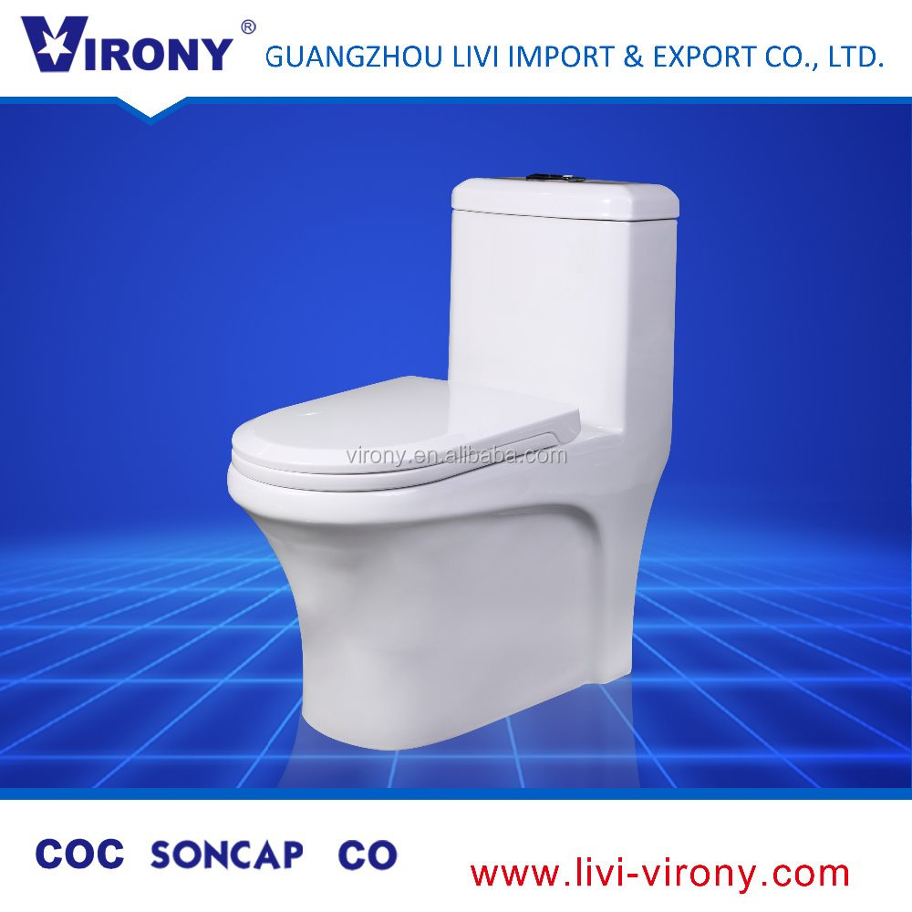 Vitreous China Round One Piece Toilet Commode with top flush