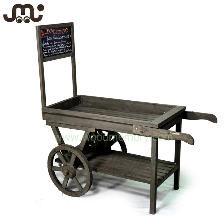 Old time simple retail wooden display wagon